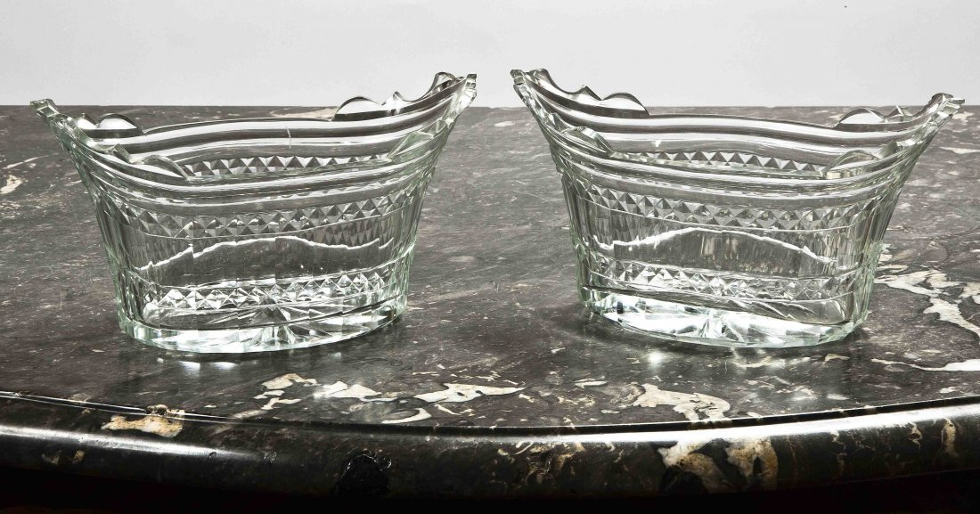 12: A pair of cut-glass flared oval section Butter-Tubs
