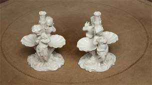 107 A pair of Dresden white porcelain Sweetmeat Groups