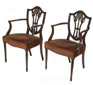437 A pair of carved and inlaid mahogany Dining Room A