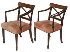 448 A pair of inlaid mahogany Dining Room Armchairs