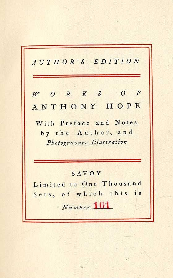 601: Bindings: Hope (A.) The Works of Anthony Hope, 15