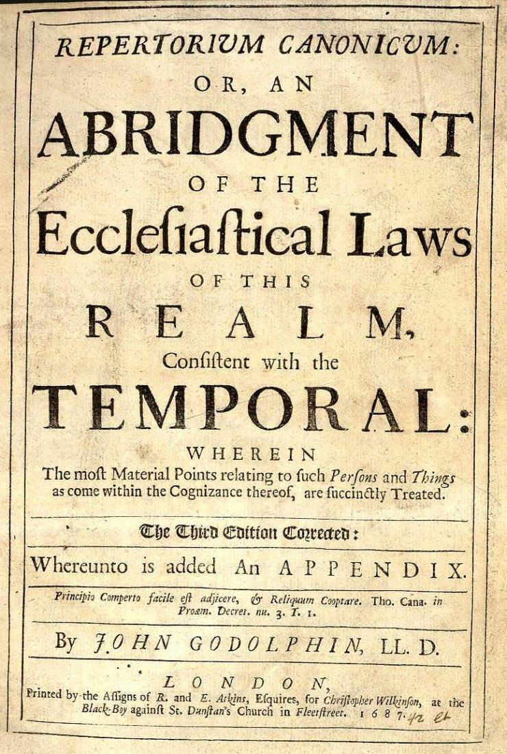 614: Godolphin (John) Repertoruim Canonicum: or An Abri