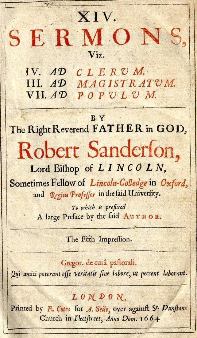 616: Sanderson (Rob.) XIV Sermons, folio L. 1664, Fifth