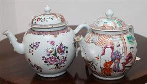 900 Two Chinese export globular Teapots and covers  Q