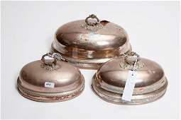 A SET OF THREE VICTORIAN GRADUATING SILVER PLATED OVAL