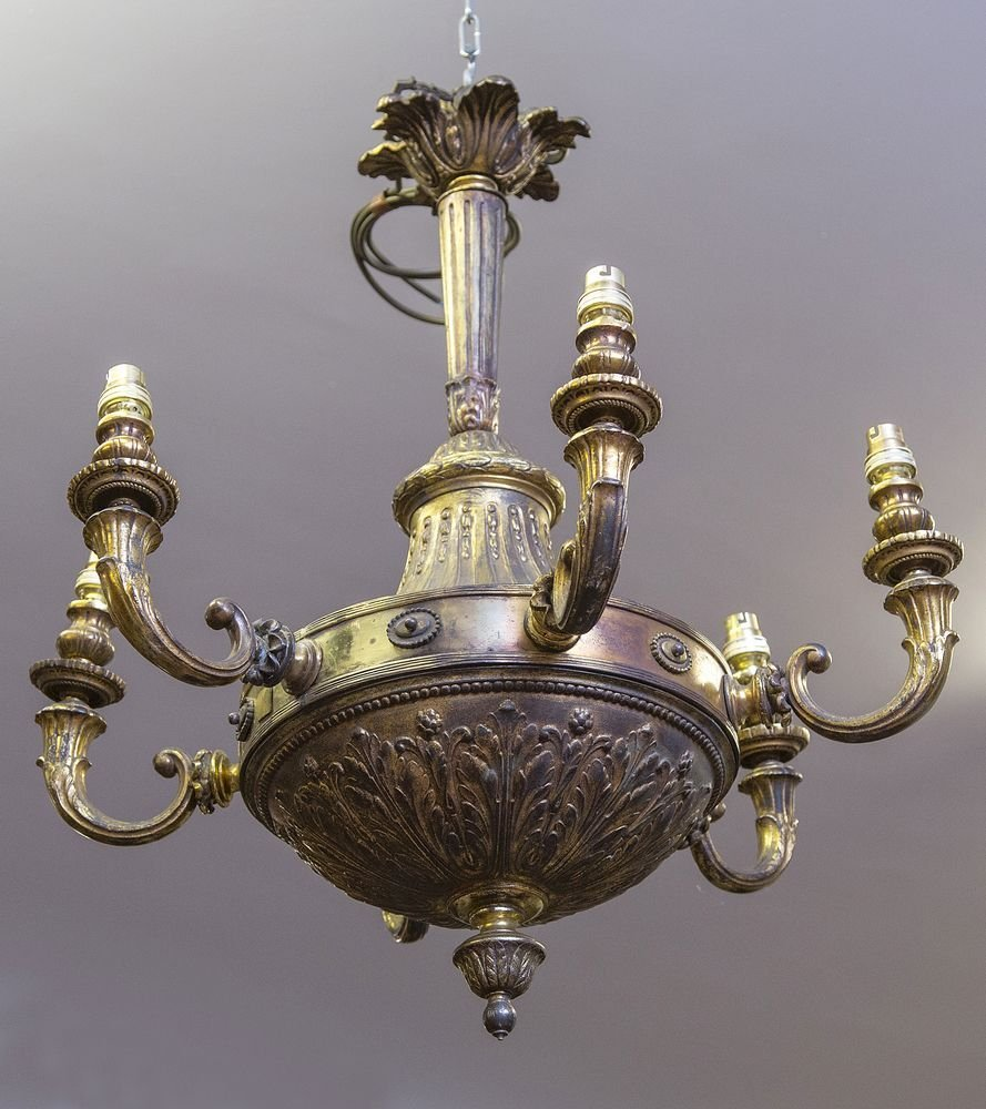 A PAIR OF ATTRACTIVE HEAVY BRASS SIX BRANCH CEILING