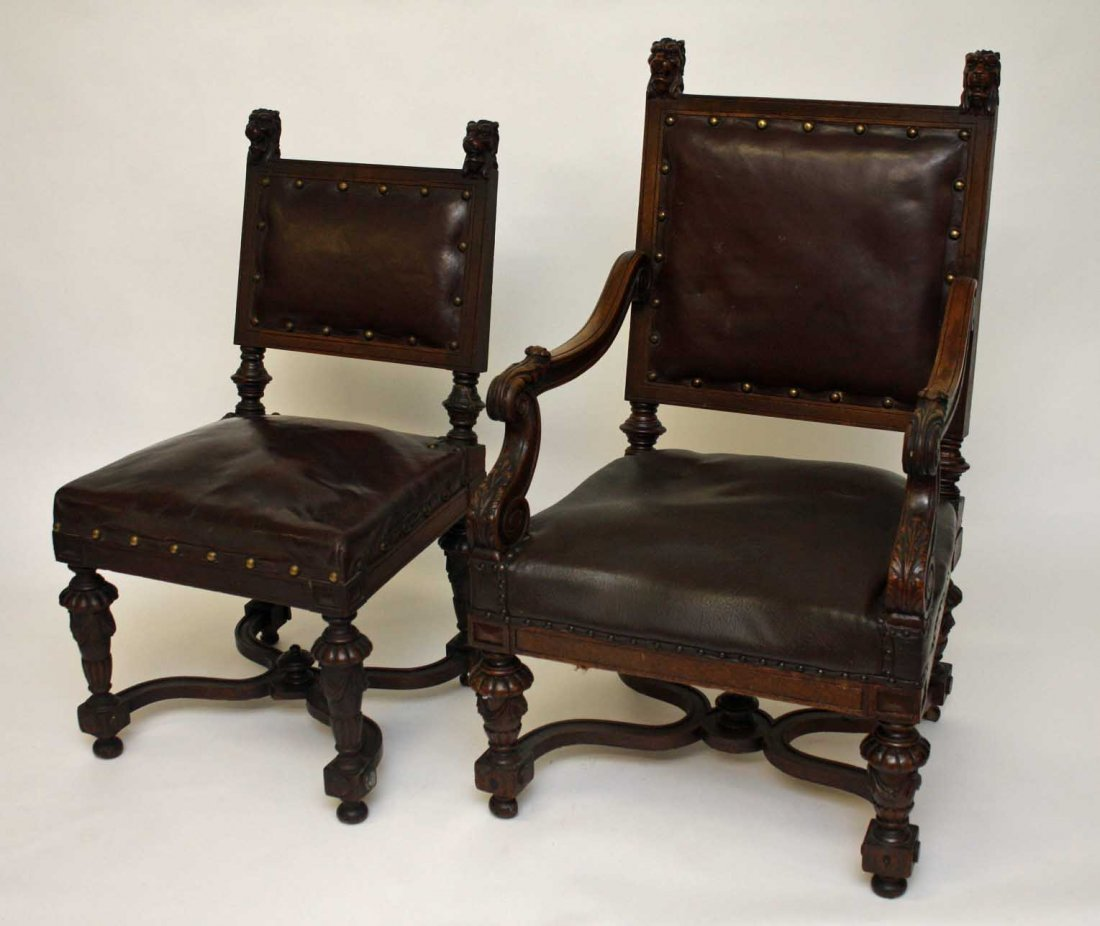 A SET OF 6 (4+2) OAK DINING CHAIRS, In the 17th century