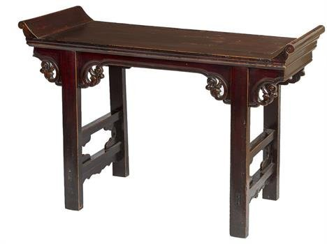 AN ANTIQUE CHINESE LIGHTWOOD AND PARTIALLY LACQUERED