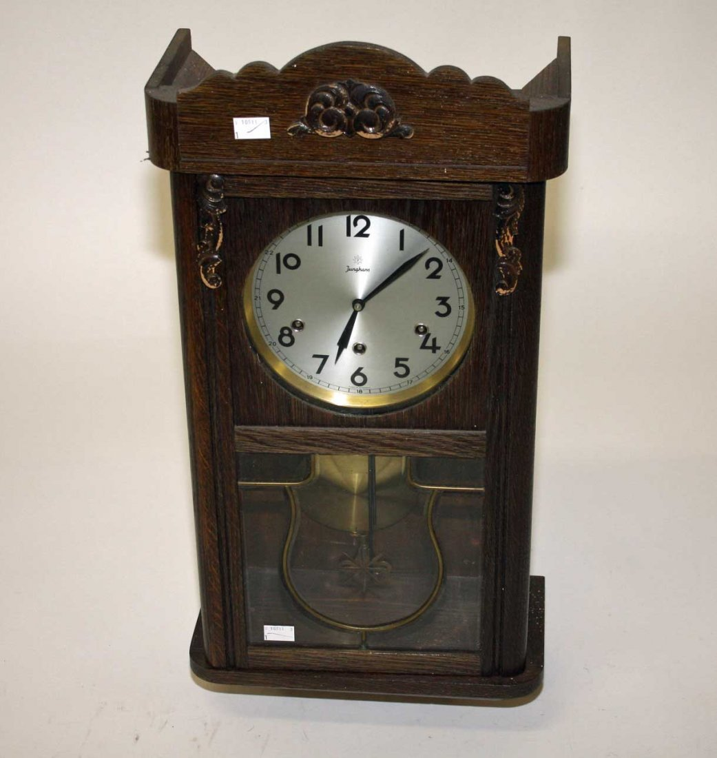 AN OAK CASED CHIMING WALL CLOCK,  early 20th century by