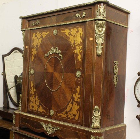 A PAIR OF KINGWOOD AND MARQUETRY SIDE CABINETS, 20th