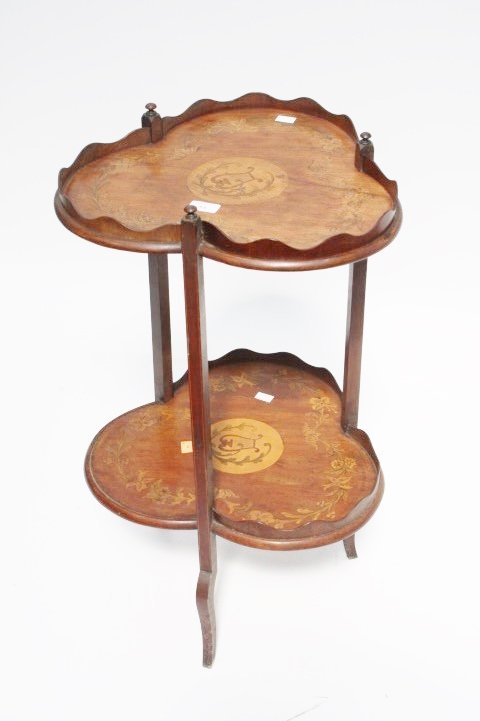 AN UNUSUAL TWO TIER TRIFORM MARQUETRY INLAID MAHOGANY