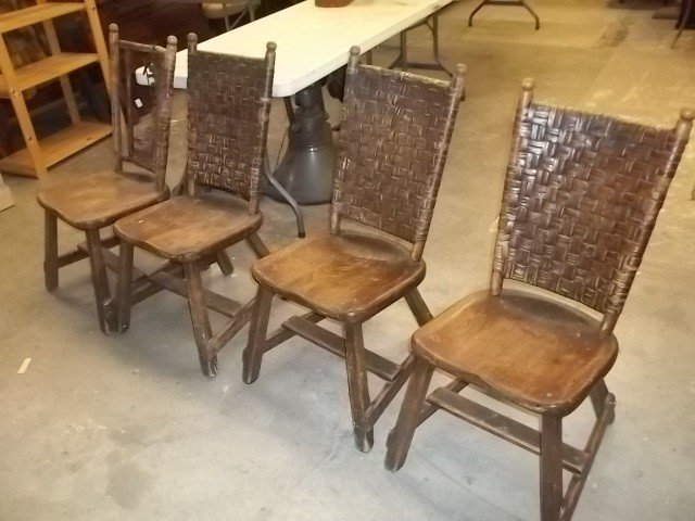 285: RARE Antique OLD HICKORY Chairs Set of 4