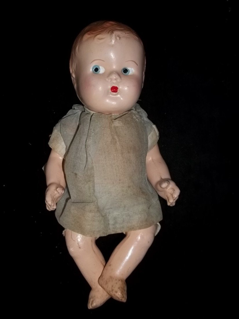 21: Old Compo Baby Doll w Clothes