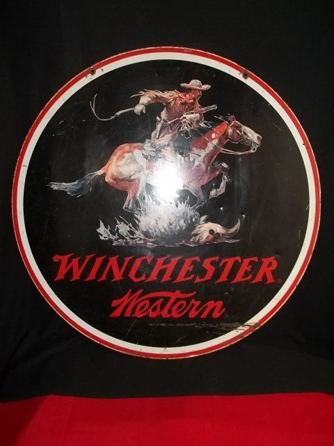 158: RARE Porcelain Winchester Western Sign