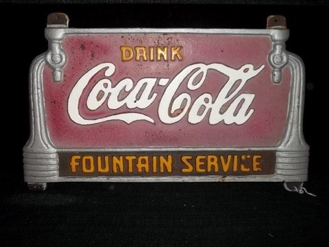 247: Old Coca-Cola Fountain Service Cast Iron Sign