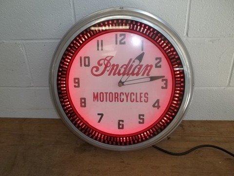 272: Nice Old Indian Motorcycles Neon Clock