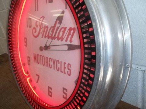 272: Nice Old Indian Motorcycles Neon Clock - 2