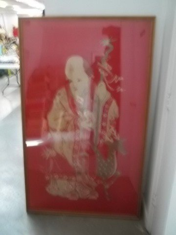 297: Old Hand Sewn Oriental Silk Tapestry Man & Dear