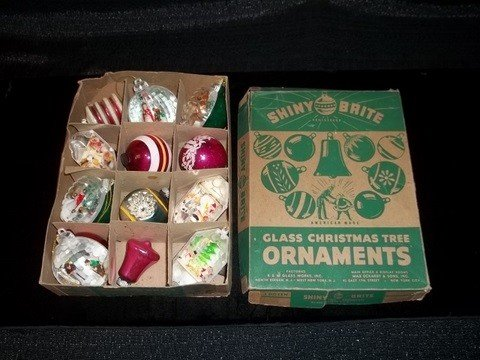 11: Box of Old Shine Brite Christmas Ornaments