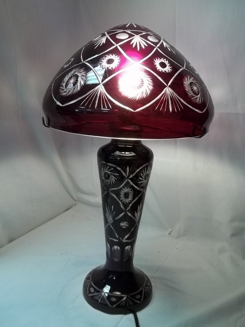 332: Contemporary Ruby Red Bohemian Glass Lamp
