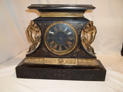 23: Antique Ansonia 1882 Mantle Clock Bronze W Figures