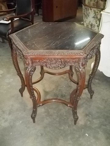 356: Carved 6-Legged Victorian Marble Table