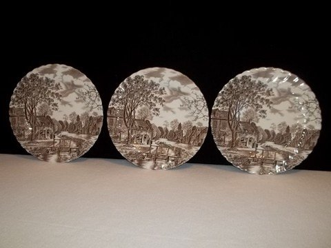 12: 3 Johnson Bros Transferware plates