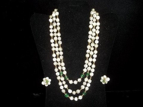 3: Frosted Pearl & Emerald Vintage Costume Necklace Ear