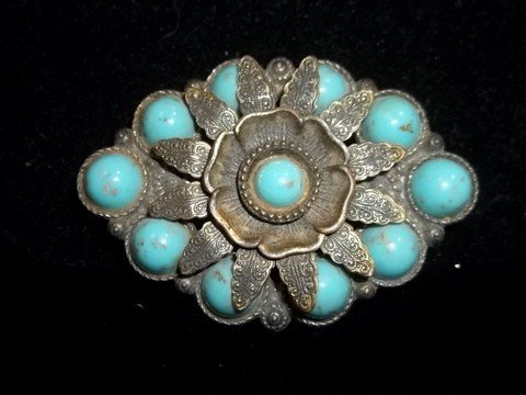 6: Vintage Tuquiose Native American Costume Brooch