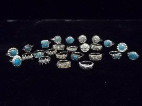 25 Native American Turquiose Style Rings