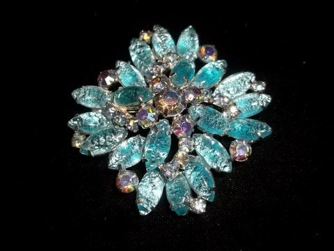 12: Blue Ice Rhinestone Brooch