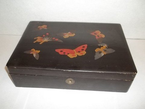 304: Old 1920's Lacquered Butterfly Vanity Box