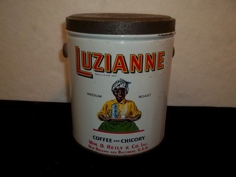 22: Old Luzianne Coffee Tin Black Americana