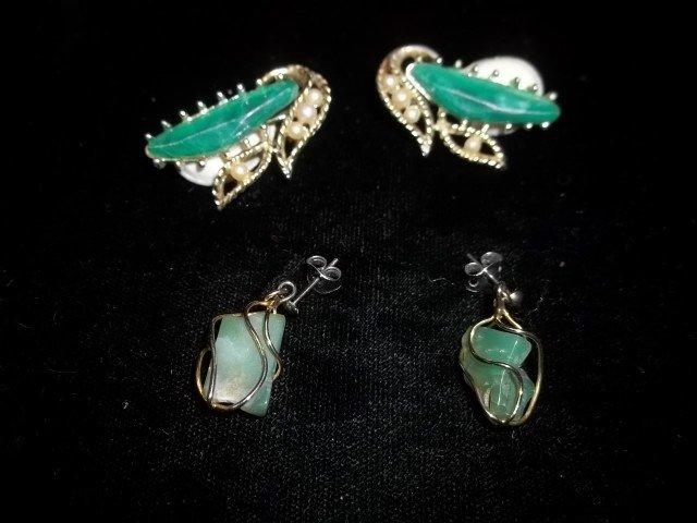 17: 2 Sets Jade Earings
