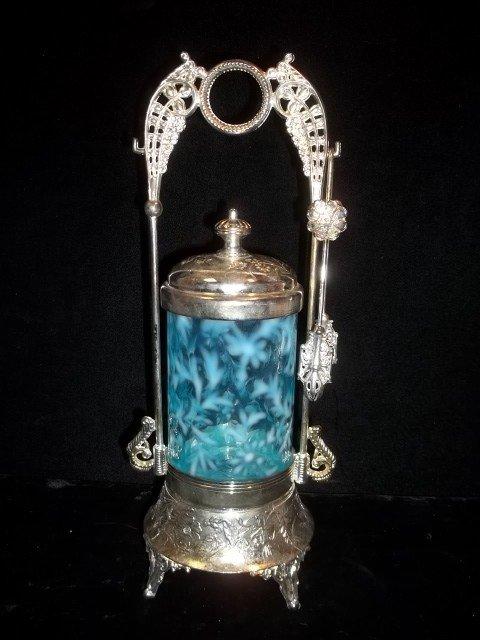 250: Fenton Ice Blue Pickle Caster