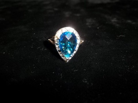 8: Sterling Silver Blue Sapphire Dinner Ring