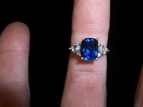 9: Sterling Silver Blue Sapphire Dinner Ring