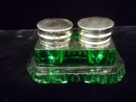 10: Green Glass Inkwell