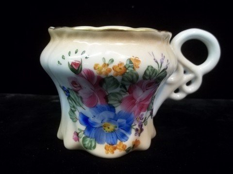 23: Limoges Hand Painted Mustache Cup 3.5 inch