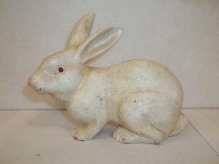 "3: 5"" Cast Iron Albino Rabbit Bank"