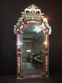812: Beautiful Ruby Red Bohemian Venetian Mirror