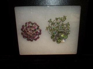 1: 2 Rhinestone Brooches
