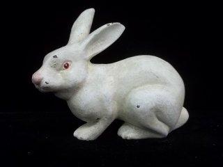 40: Cast Iron Albino Rabbit Bank 6 Inch