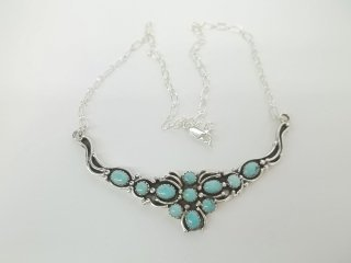 190: Native American Sterling Silver turquiose Necklace