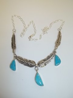 192: Native American Signed Sterling Necklace Turquiose