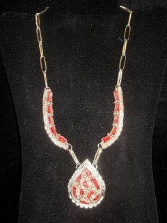 194: Native American Sterling Pink Coral Necklace