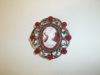 1: Ruby Red Cameo Brooch