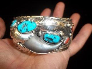 225: Elaine Sam Navajo Bearclaw Silver Bracelet