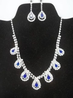 9: Cobalt Rhinestone Necklace Earings