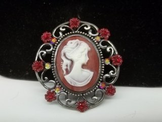 11: Ruby Red Cameo Brooch